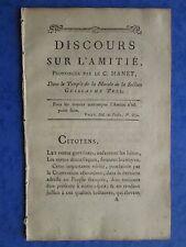 Citoyen MANET : DISCOURS SUR L'AMITIE, 1794 (Révolution)