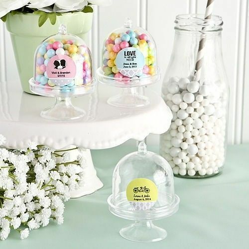 75-400 Personalized Mini Cake Stand Design Plastic Candy Box Wedding Party Favor
