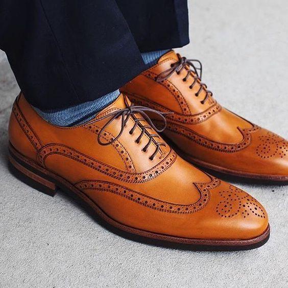 Handmade Men Tan color brogue leather formal shoes, Men tan color Dress shoes