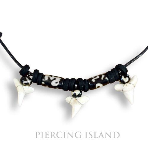3 Shark teeth tiburón diente Surfer cadena collar bone Design n191