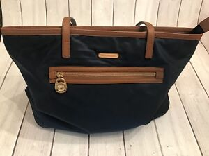 39683a6ddaa5 Michael Kors Kempton Navy Nylon Leather Trim Shoulder Tote Purse Bag ...