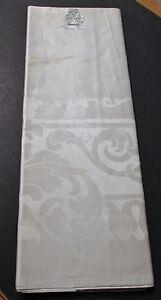 Antique Irish Linen Damask Tablecloth Fabric ACANTHUS LEAF & GARLANDS Millmarks