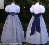 Ladies Victorian / American Civil War 3pc costume fancy dress blue  floral