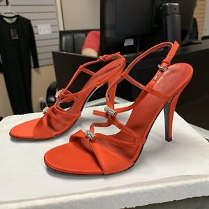 red satin strappy heels