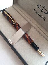 2006 PARKER DUOFOLD AMBER CHECK GT DEMI FOUNTAIN PEN-18K BROAD NIB-NOS