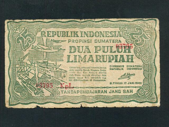 Indonesia:P-S191b,25 Rupiah,1948 * Harbor * F *