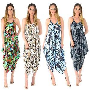 dbff74c2fa0 Women Plus Size Cami Dress Lagenlook Romper Baggy Harem Jumpsuit ...