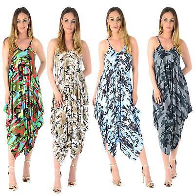 Women Plus Size Cami Dress Lagenlook Romper Baggy Harem Jumpsuit Ladies Playsuit In Vielen Stilen