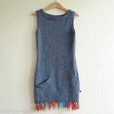 BENGH PER PRINCIPESSE GIRLS' BLUE WOOL DRESS with FRINGE | Size 122/128