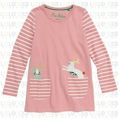 New Mini Boden Pink Rabbit Applique Pocket Tunic Stripe Dress RRP £22 2yrs-12yrs