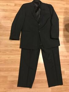 Austin Reed London Black Pinstriped 2 Piece Suit 52xl 44x31 Pants Big Tall Ebay