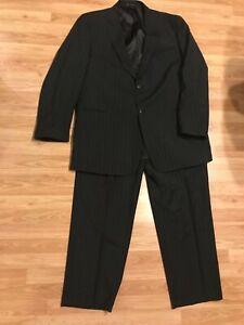 Austin Reed London Black Pinstriped 2 Piece Suit 52xl 44x31 Pants Big Tall Ebay