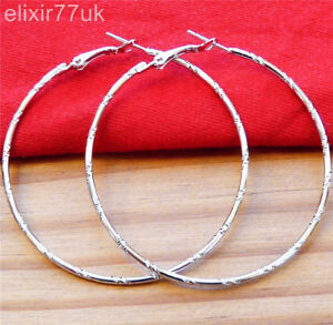 UK-NEW-SILVER-LARGE-ROUND-HOOP-EARRINGS-6CM-SHINY-FAB-BIG-GYPSY-HOOPS-FREE-GIFT