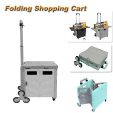 55l Generation Folding Shopping Cart Ladder Wheel Withsmall Table Cover Gray Gift