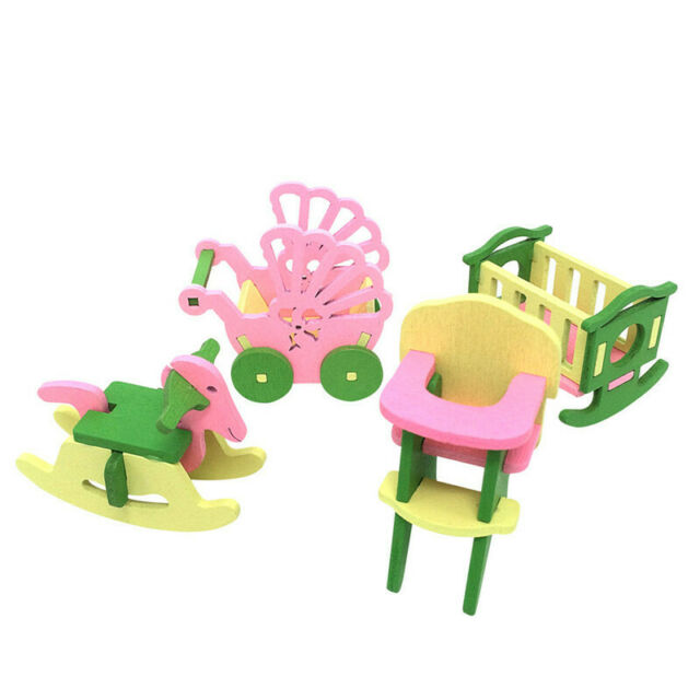 Baby Wooden Dollhouse Furniture Dolls House Miniature Child Play Toys Gifts E8X3