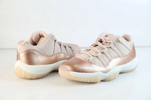 new style b1393 0037f Image is loading Jordan-Retro-Womens-11-Low-Rose-Gold-Red-
