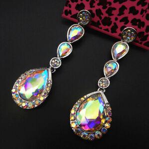Women-039-s-AB-Crystal-Teardrop-Betsey-Johnson-Dangle-Drop-Earrings