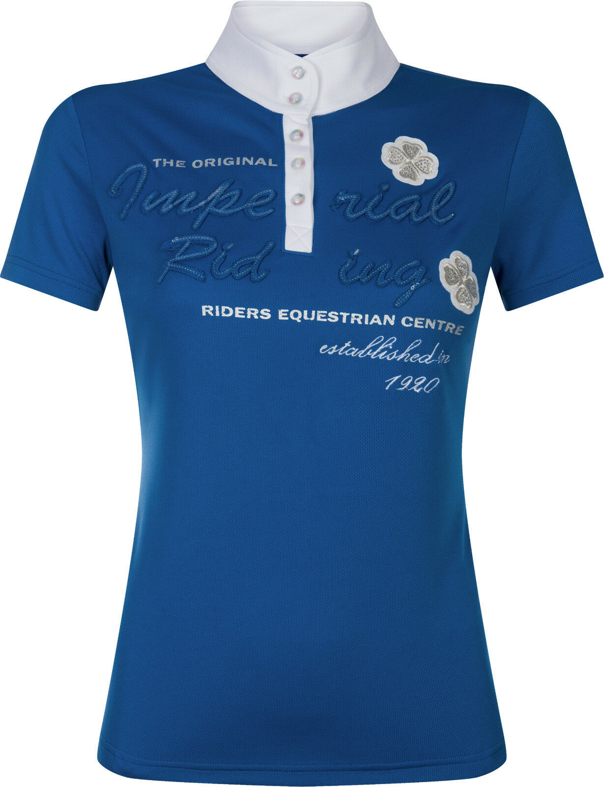 Imperial Riding señora señora señora torneo camisa manga corta diadeem cuello alto pedrería azul  Hay más marcas de productos de alta calidad.