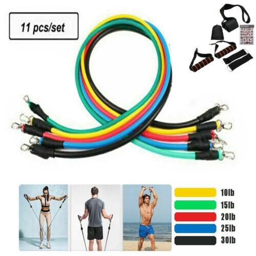 11PCS Resistance Bands Set Yoga Pilates Latex Exercise Fitness Tube Workout Band