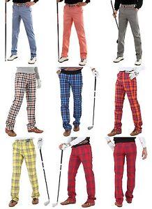 Mens Plaid Golf Pants For Men Stretch Comfortable Tartan