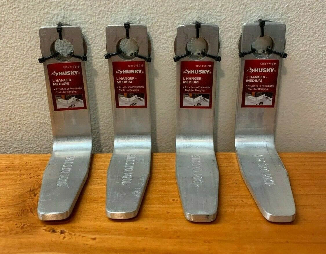 (2 or 4 pack) Husky L Hanger Hook for Pneumatic Tools // Size Medium T-4