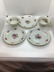 Vintage-Wawel-Floral-China-6-3-4-034-Bread-Plates-Dessert-amp-2-Cups-Made-In-Poland