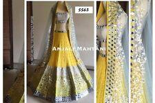 Designer Bridal Partywear Yellow Latest UnSticthed Lehenga Choli