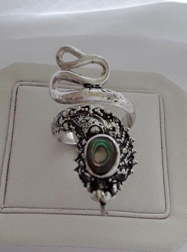 AGNES CREATIONS    BAGUE MODE FEMME SERPENT silver 925 & NACRE ABALONE size 53