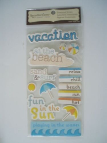RECOLLECTIONS BEACH VACATION WORDS SCRAP BOOK STICKERS