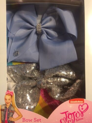 JoJo Siwa Large Bow Gift Box Set Blue /& Silver Sequin Or Pink /& Rainbow Sequin
