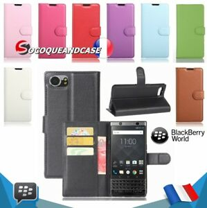 Etui-coque-housse-XCOLORS-PU-Leather-case-cover-skin-BlackBerry-Keyone-ou-Key-2