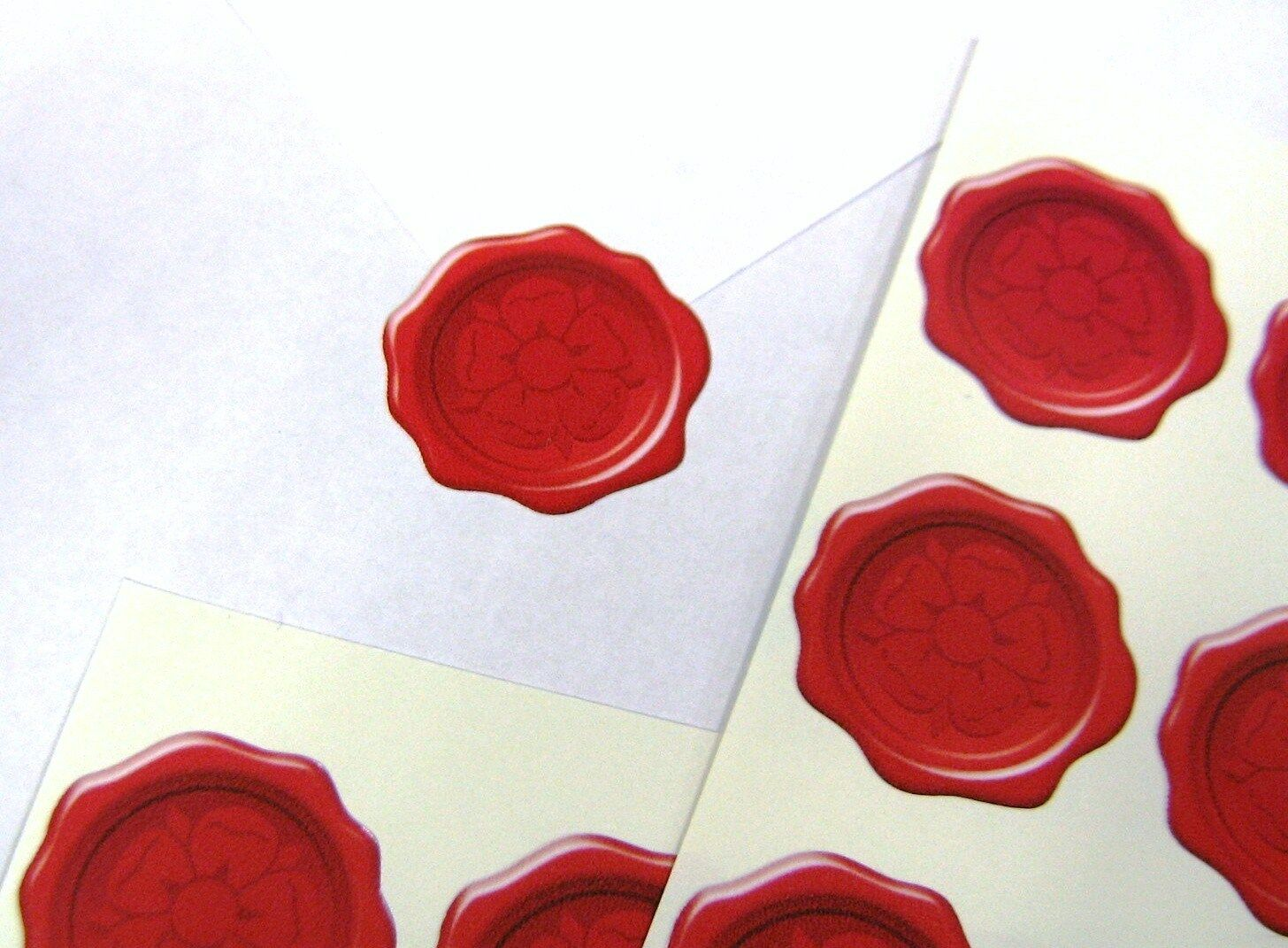 Tudor Rose Wax Seal Effect Stickers X60 Weddings Cards Invitation ...