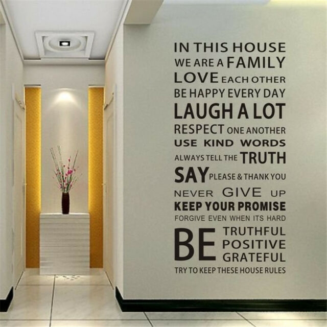 Removable Vinyl Art Home Decals Family Rules Words Mural Quote Wall Door Sticker