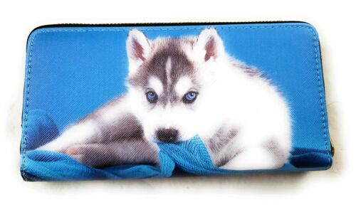 Husky Puppy Dog Husky Blue Faux Leather Zip Around Wallet Gift