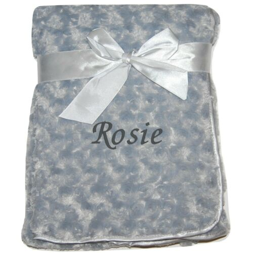 Baby Girl Boy Personalised Blanket Embroidered Name Grey Pink Blue White