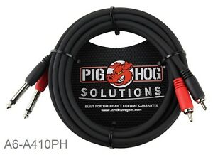 10ft Pig Hog Dual 1 4 TS Mono Male Plug to 2 RCA Male Plug Audio Cable