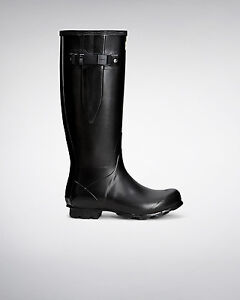 Image is loading Hunter-Wellington-Boots-Wellies-Womens-Norris-Adjustable -Black-
