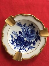 Blue/White Rose Pattern Antique Guilded Bavarian Delft Ash Tray
