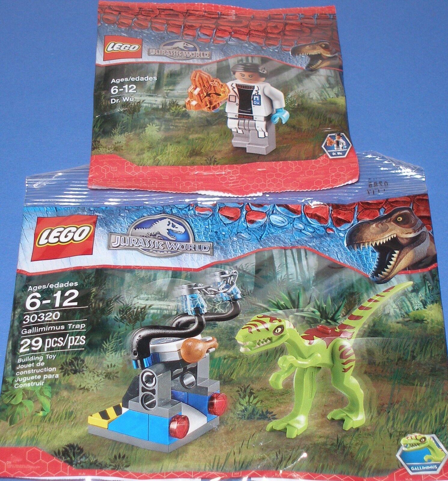 2x Lego Jurassic World   Dr Wu mit Bernstein und Dino Falle mit Gallimimus OVP