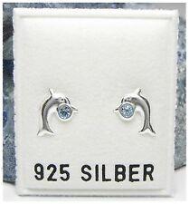 NEU 925 Silber OHRSTECKER Delfin SWAROVSKI STEINE blau OHRRINGE Delfine DELPHIN
