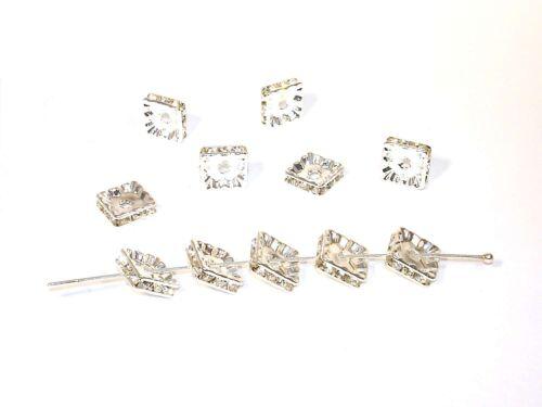 2 Stück #Z98//1 Strassrondelle,10mm Kristall Silber Quadrat