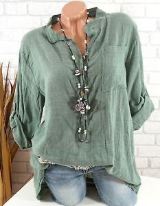 Bluse-Damen-Italy-Tunika-Longbluse-Fischerhemd-Leinen-Optik-oliv-gruen-42-44-46