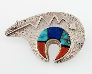 Vintage-Navajo-Spirit-Oso-Pin-con-Multicolor-Taraceado-Hecho-a-Mano-de-Plata-Ley