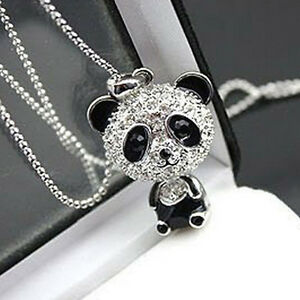 Femmes-Filles-Chic-Strass-Panda-Pendentif-Collier-Chaine-de-pull