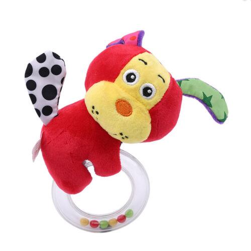 Baby Cartoon Rabbit Plush Rattle Ring Bell Newborn Hand Grasp Soft Toys G