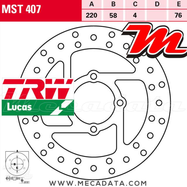 Disque de frein Arrière TRW Lucas MST 407 Yamaha YFM 660 Raptor (AM01) 2003