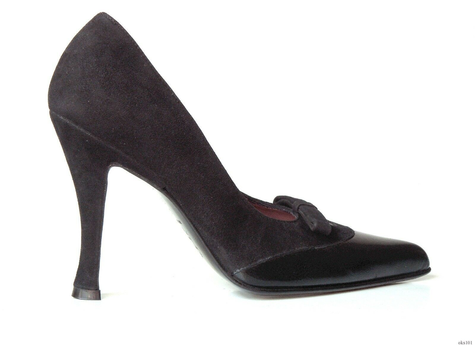new Versani 9502 black suede/leather pointy toe PUMPS Shoes Italy - sexy