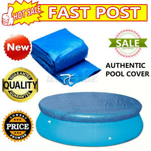 New Round SWIMMING POOL Cover Tarp Easy Fast Set Rope 8/10ft Above Ground Blue