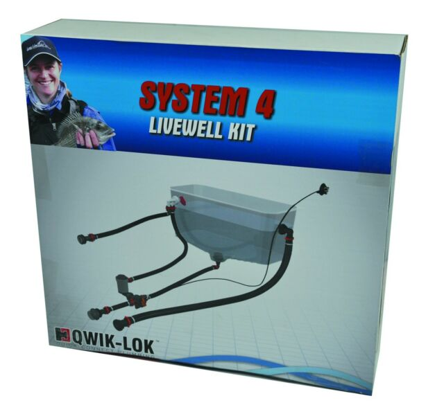 Flow-Rite Fishing Livewell Bait Tank System Kit With Rule Pump