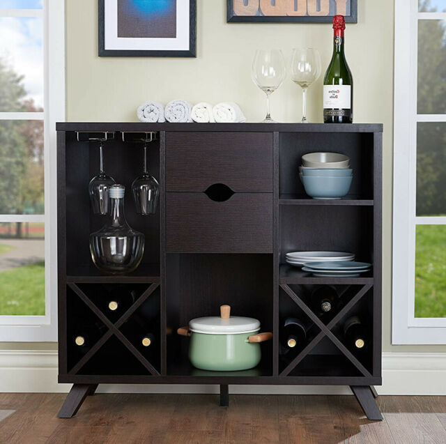Wine Cabinet Liquor Storage Bottle Rack Table Drawer Shelves Brown Wood Home Bar